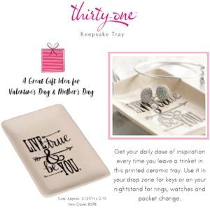 Live True & Be You Ceramic Jewelry Ring Dish Tray